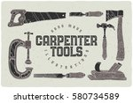 set of hand drawn carpenter... | Shutterstock .eps vector #580734589