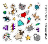 quirky fashion patches set with ... | Shutterstock .eps vector #580736311
