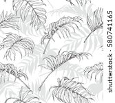 hand drawn branches and leaves...   Shutterstock .eps vector #580741165