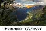 lush new zealand landscape in... | Shutterstock . vector #580749391