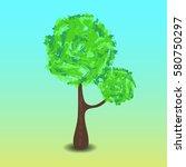 green tree vector illustration...   Shutterstock .eps vector #580750297