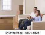 a young couple and their dog...   Shutterstock . vector #58075825