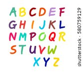 latin alphabet  the numbers... | Shutterstock .eps vector #580759129