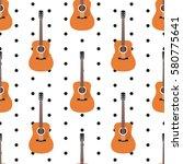 acoustic guitar on white...   Shutterstock .eps vector #580775641