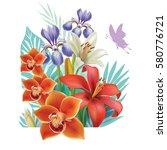 vector bouquet with flowers | Shutterstock .eps vector #580776721