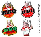 logo and mascot of pig for bbq    Shutterstock .eps vector #580777885