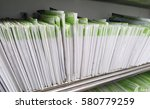 patient files paper on shelf in ... | Shutterstock . vector #580779259