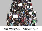 illustration of crowd marching...   Shutterstock .eps vector #580781467