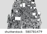 illustration of crowd marching... | Shutterstock .eps vector #580781479