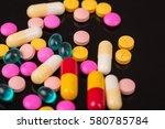 different tablets pills capsule ... | Shutterstock . vector #580785784
