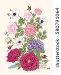 bouquet of flowers. wedding... | Shutterstock .eps vector #580791064