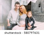 happy family of three people.... | Shutterstock . vector #580797631