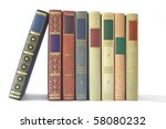Row of vintage books isolated on white background, blank labels, free copy space - stock photo