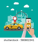 urban cityscape with taxi cab ... | Shutterstock .eps vector #580802341