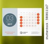 calendar template for march... | Shutterstock .eps vector #580811167