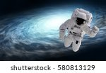 cosmonaut and spiral galaxy ... | Shutterstock . vector #580813129