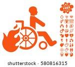 burn patient icon with bonus... | Shutterstock .eps vector #580816315