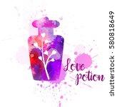 watercolor imitation bottle... | Shutterstock .eps vector #580818649