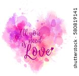watercolor imitation heart... | Shutterstock .eps vector #580819141