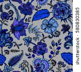 seamless pattern with fantasy... | Shutterstock .eps vector #580830385