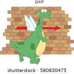 cartoon dragon goes past the... | Shutterstock .eps vector #580830475
