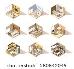 Vector isometric low poly home rooms set. Includes living room, bathroom, kitchen, kids room, garage, bedroom, and other | Shutterstock vector #580842049