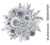 floral composition. bouquet... | Shutterstock .eps vector #580843969