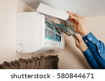 air conditioning  a master... | Shutterstock . vector #580844671