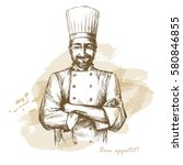 smiling and happy chef. hand... | Shutterstock .eps vector #580846855