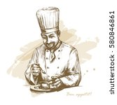 smiling and happy male chef... | Shutterstock .eps vector #580846861