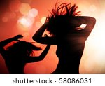 dancing silhouettes of woman in ...