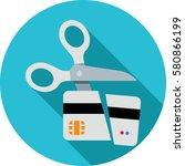 scissors cutting credit card... | Shutterstock .eps vector #580866199