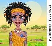animation portrait of the girl  ... | Shutterstock .eps vector #580870321