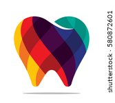 colorful tooth icon | Shutterstock .eps vector #580872601