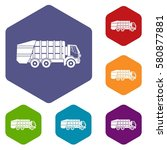 garbage truck icons set rhombus ... | Shutterstock . vector #580877881