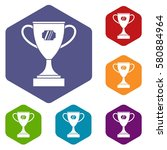 winner cup icons set rhombus in ... | Shutterstock . vector #580884964