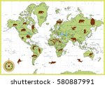 highly detailed world map with... | Shutterstock .eps vector #580887991