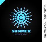 summer sun with dot logo.... | Shutterstock .eps vector #580890421
