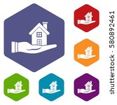 house in hand icons set rhombus ... | Shutterstock . vector #580892461