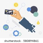 hand holds credit card. credit... | Shutterstock .eps vector #580894861