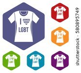 t shirt i love lgbt icons set... | Shutterstock . vector #580895749