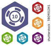 casino chip icons set rhombus... | Shutterstock . vector #580901341