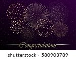 firework show on night sky... | Shutterstock .eps vector #580903789