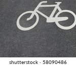 white bicycle road sign black | Shutterstock . vector #58090486