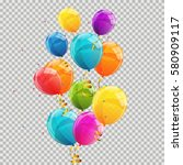 color glossy balloons... | Shutterstock .eps vector #580909117