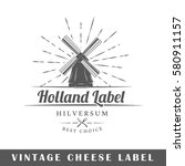 cheese label isolated on white... | Shutterstock .eps vector #580911157