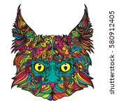 vector face of coloring cat... | Shutterstock .eps vector #580912405