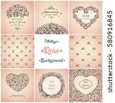 set of vector vintage cards... | Shutterstock .eps vector #580916845