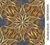 golden pattern on gray...   Shutterstock .eps vector #580930444