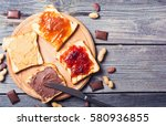 nut nougat cream with chocolate ... | Shutterstock . vector #580936855
